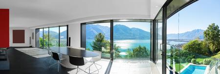 jezior: Nowoczesny dom, wnętrze widok panoramiczny