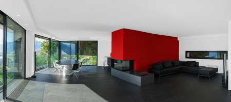 livingroom: Modern house, interior panoramic view