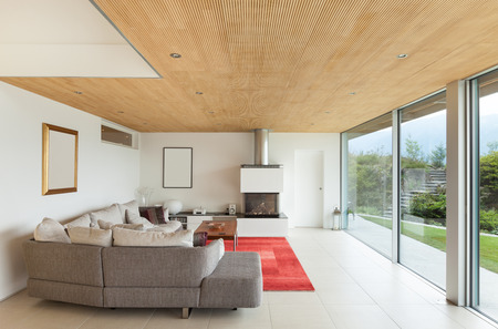 Mountain House, Modern Architecture, Interior, Living Room Stock Photo,  Picture And Royalty Free Image. Image 34092144.