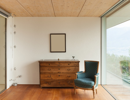 corner house: mountain house, modern architecture, interior, detail room