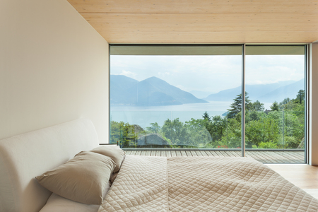 mountain house, modern architecture, interior, bedroom photo