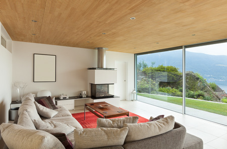 comfortable cozy: mountain house, modern architecture, interior, living room