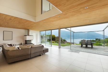 case moderne: casa di montagna, architettura moderna, interni, soggiorno Archivio Fotografico