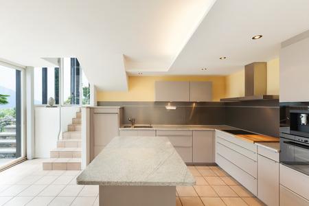 tap room: interior house, modern kitchen view Stock Photo