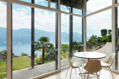 veranda: mountain house; modern architecture; interior; veranda Stock Photo
