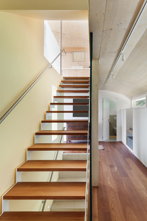 wooden house: mountain house, modern architecture, interior, staircase
