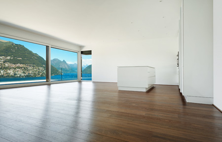 Interior, modern house, empty room with window overlooking the lake photo