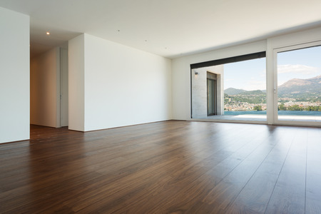 empty house: beautiful modern house, empty room with windows Stock Photo