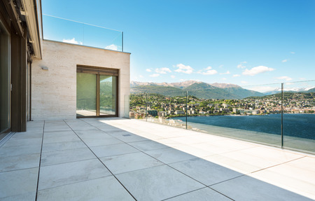 marble floor: beautiful terrace of a modern building, outdoor