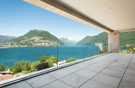 beautiful terrace in a modern penthouse, lake view Stock Photo