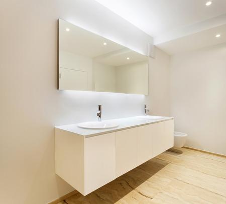 nice modern bathroom, sinks view 스톡 콘텐츠