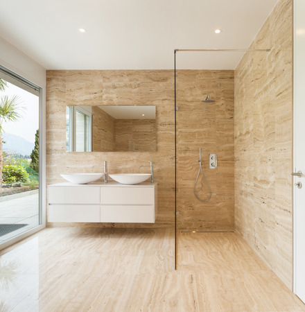 cerámicas: baño bonito y moderno va a morir paredes de mármol