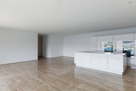 beautiful empty apartment with marble floor, modern kitchen photo