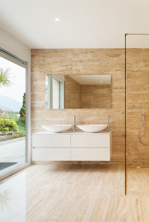Nice Modern Bathroom With Marble Walls Stock Photo, Picture And ...