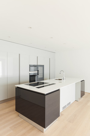 kitchen island: beautiful empty apartment, hardwood floor, kitchen island
