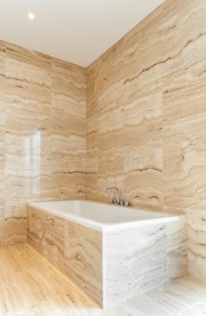 bathroom wall: nice modern bathroom, marble walls Stock Photo