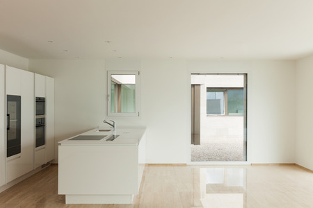 Interior, modern penthouse, empty living room with kitchen photo