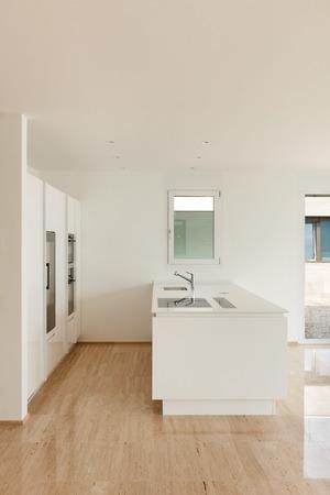 beautiful empty apartment, marble floor, modern kitchen photo