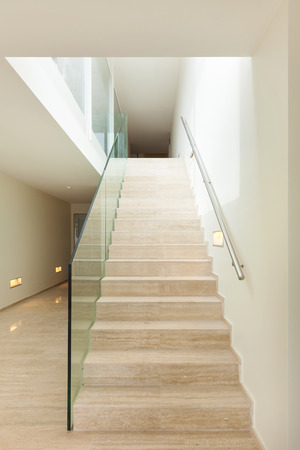 penthouse: Interior, beautiful penthouse, marble stair Stock Photo