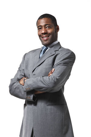 Black businessman half-length portrait standing up over white  Stock Photo