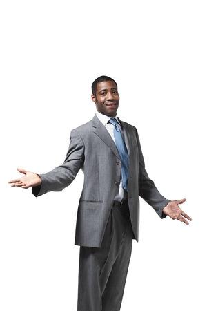 half open: Black businessman half-lenght portrait standing up over white background
