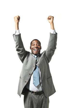 Exulting businessman over white  Stock Photo