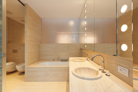 ambient light: Interior modern bathroom
