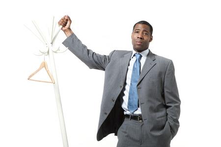 black man with hanger