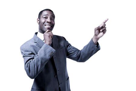black man indicating Stock Photo