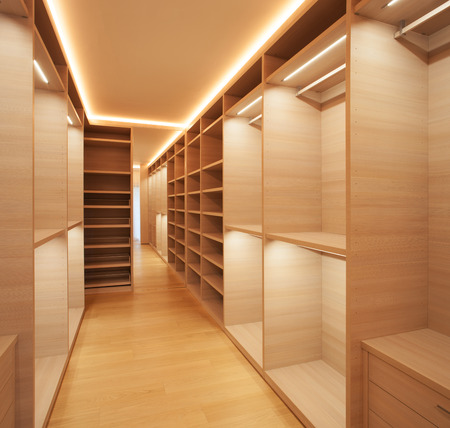Interior modern house, empty walk-in closet