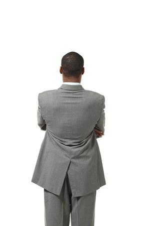 black man wearing suit, back portait