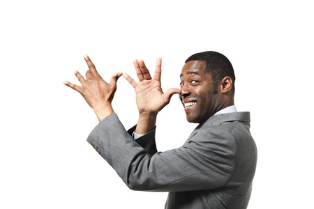 black man joking over white background