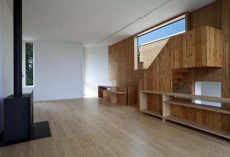 Modern house, wooden living room photo