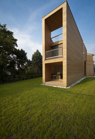 voids: Modern house in wood Stock Photo