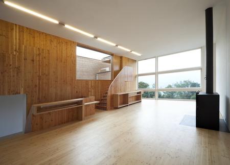 Modern wooden living room photo