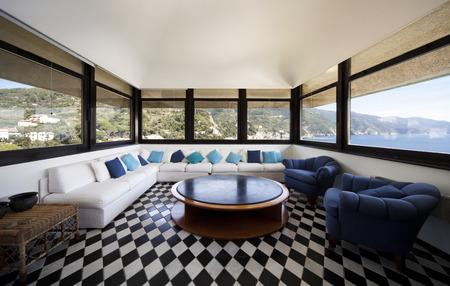 mediterranean house: seaside livingroom interior