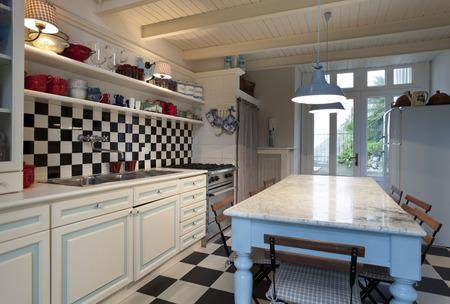 kitchen tile: chessboard tile, kitchen interior