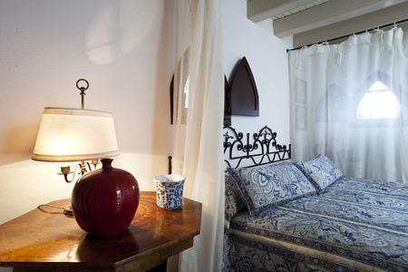 courtain: bedroom interior Stock Photo