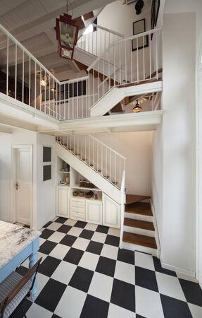 duplex: duplex, wooden staircase