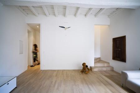 go inside: livingroom interior with person Stock Photo