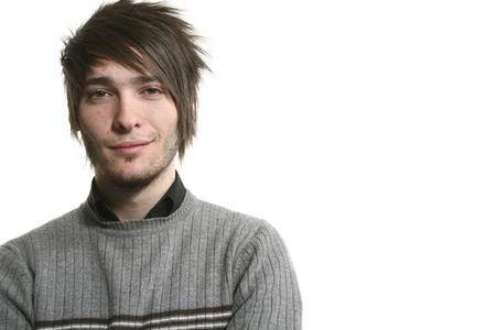young man photo studio portrait, white background photo