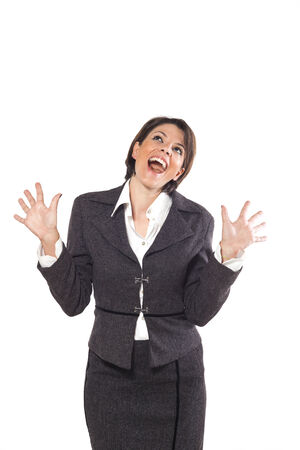tailleur: woman portrait, white background Stock Photo