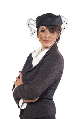 tailleur: woman portrait, white background Stock Photo