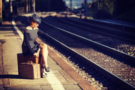 Portrait de femme, de la gare Banque d'images - 34571316