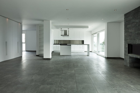 floor tiles: new apartment, kitchen view Stock Photo