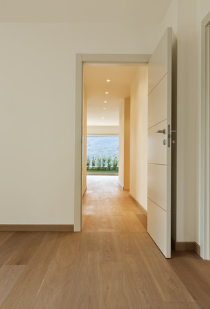 open house: new apartment, empty corridor, open doors Stock Photo