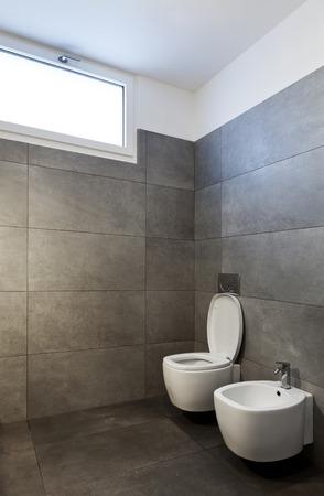 new apartment, empty bathroom Stock Photo