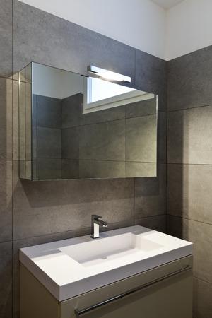 bathroom design: new apartment, empty bathroom Stock Photo