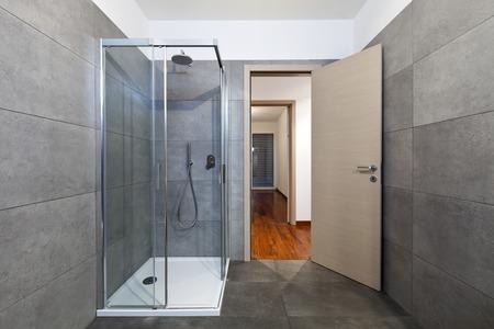 new apartment, bathroom shower cabin