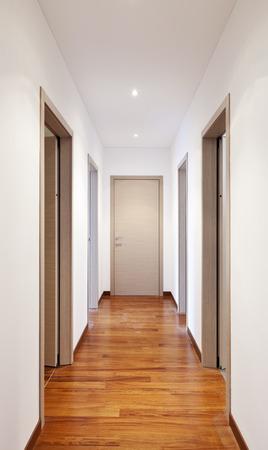 many doors: new apartment, empty corridor, many doors